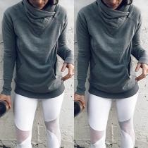 Modernes Sweatshirt mit Langen Ärmeln Volltonfarbe und Weitem Rollkragen