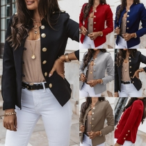 Moderne Jacke in Volltonfarbe mit Langen Ärmeln Stehkragen und Einreihigem Design