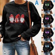 Nettes Sweatshirt mit Weihnachtsmotiv Langen Ärmeln und Rundhalsausschnitt
