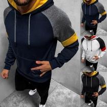 Modischer Kapuzenpullover für Herren in Kontrastierenden Farben mit Langen Ärmeln