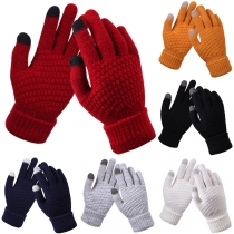 Modernes Gestrickte Handschuhe in Kontrastierenden Farben