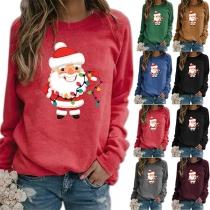 Nettes Sweatshirt mit Weihnachtsmann-Motiv und Rundhalsausschnitt