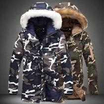 Moderne Gepolsterte Jacke für Herren mit Kapuze mit Kunstpelz und Tarnmuster