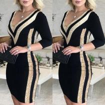 Sexy Kleid mit V-Ausschnitt Pailletten Langen Ärmeln und Schlanker Passform