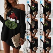 Niedliches Sweatshirt mit Weihnachtsmotiv Langen Ärmeln Lockerer Passform und Rundhalsausschnitt