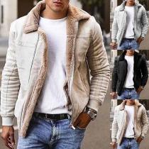 Moderne Jacke für Herren mit Volltonfarbe Langen Ärmeln und Plüschfutter