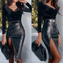 Sexy Kunstlederrock mit Hoher Taille und Schlitz