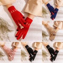 Nette Berührungsempfindliche Strickhandschuhe mit Katzenmotiv