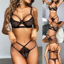 Sexy Ausgeschnittenes Dessous-Set mit Durchsichtiger Spitze