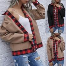 Moderne Jacke mit Karierten Rändern Langen Ärmeln und Polo-Kragen