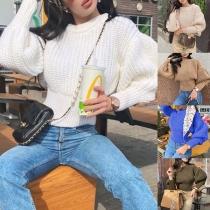 Modischer Pullover mit Laternenärmel Volltonfarbe und Rundhalsausschnitt