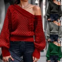 Sexy Pullover mit Schräger Schulter Langen Ärmeln und Volltonfarbe