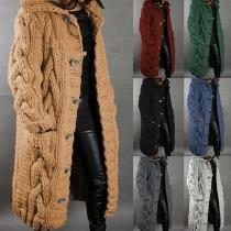 Moderne Lange Strickjacke mit Langen Ärmeln Volltonfarbe und Kapuze