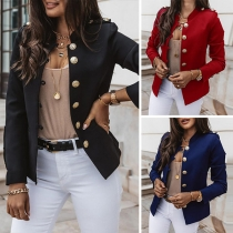 Moderne Jacke mit Langen Ärmeln Volltonfarbe Stehkragen und Einreihigem Design