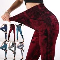Modische Dehnbare Leggings mit Schickem Muster und Hoher Taille