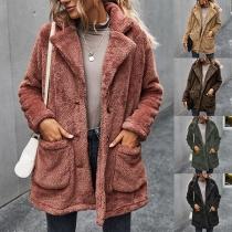 Moderne Jacke aus Plüsch mit Langen Ärmeln Gekerbtem Revers und Volltonfarbe