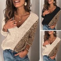 Moderner Pullover mit Akzent mit Leopardenmuster Langen Ärmeln und V-Ausschnitt