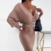 Sexy V-neck Dolman Sleeve High Waist Slim Fit Dress
