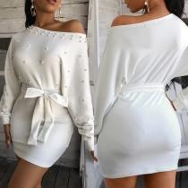 Fashion Dolman Sleeve Round Neck Slim Fit Beaded Dress