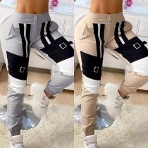 Fashion High Waist Contrast Color Casual Pants