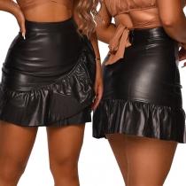 Fashion High Waist Ruffle Gem PU Leather Skirt