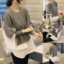 Chic Style Long Sleeve Round Neck High-low Hem Mock Two-piece Sweater
