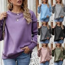 Lässiges Sweatshirt mit Langen Ärmeln Rundhalsausschnitt und Volltonfarbe