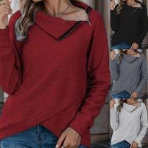 Lässiges Sweatshirt mit Langen Ärmeln Schrägen Kragen und Unregelmäßigem Saum
