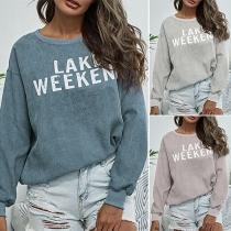 Modernes mit Buchstaben Bedrucktes Sweatshirt mit Langen Ärmeln und Rundhalsausschnitt