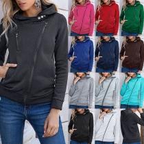 Fashion Solid Color Long Sleeve Oblique Zipper Hooded Sweatshirt Coat
