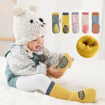 Niedliche Anti-Rutsch-Socken in Kontrastierenden Farben mit Fruchtmotiv 2 Paar/Set