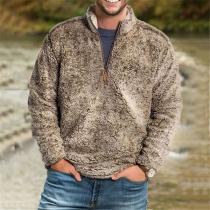 Modernes Sweatshirt aus Plüsch für Herren in Volltonfarbe mit Langen Ärmeln und Stehkragen