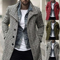 Moderne Karierte Jacke für Herren mit Langen Ärmeln und Einreihigem Design