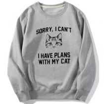 Niedliches Bedrucktes Sweatshirt mit Katzenmotiv Langen Ärmeln und Rundhalsausschnitt