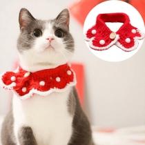 Niedliches Gestricktes Halsband für Haustiere in in Kontrastierenden Farben