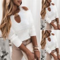Sexy Pullover mit Freien Schultern Langen Ärmeln Rundhalsausschnitt mit Kette und Volltonfarbe