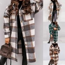 Moderner Karierter Jacke mit Langen Ärmeln und Polo-Kragen