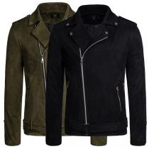 Moderne Jacke für Herren in Volltonfarbe mit Langen Ärmeln und Schrägem Reißverschluss