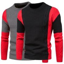 Modischer Pullover für Herren in Kontrastierenden Farben mit Langen Ärmeln und Rundhalsausschnitt