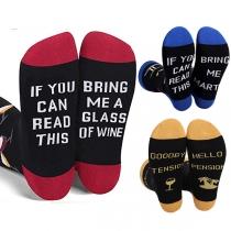 Moderne mit Buchstaben Bedruckte Socken mit Kontrastierenden Farben