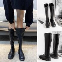 Mode Kniehohe Stiefel mit Runder Spitze und Flachem Absatz