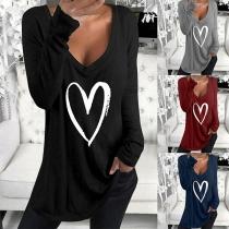 Modernes Sweatshirt mit Herzmotiv Langen Ärmeln und V-Ausschnitt