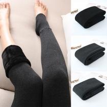 Mode Strumpfhosen in Volltonfarbe mit Hoher Taille und Plüschfutter Strümpfe