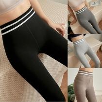 Moderne Dehnbare Leggings in Kontrastierenden Farben mit Hoher Taille