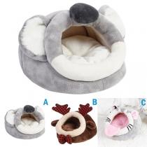Niedlicher Plüschschlafsack für Haustiere in Cartoon-Tierform