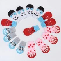 Niedliche Socken für Haustiere in Kontrastierenden Farben mit Cartoon-Motief 2 Paar / Set