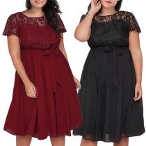 Sexy Plus-Size-Kleid mit Spitzendesign Kurzen Ärmeln und Rundhalsausschnitt