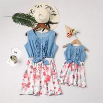 Modisches Ärmelloses Kleid für Mutter und Tochter mit Rundhalsausschnitt