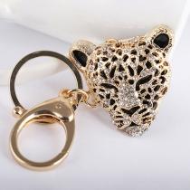 Niedliches Schlüsselbund mit Strass und Leopardenkopf-Anhänger