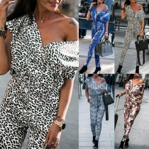 Sexy V-neck Short Sleeve High Waist Leopard Printed Jumpsuit